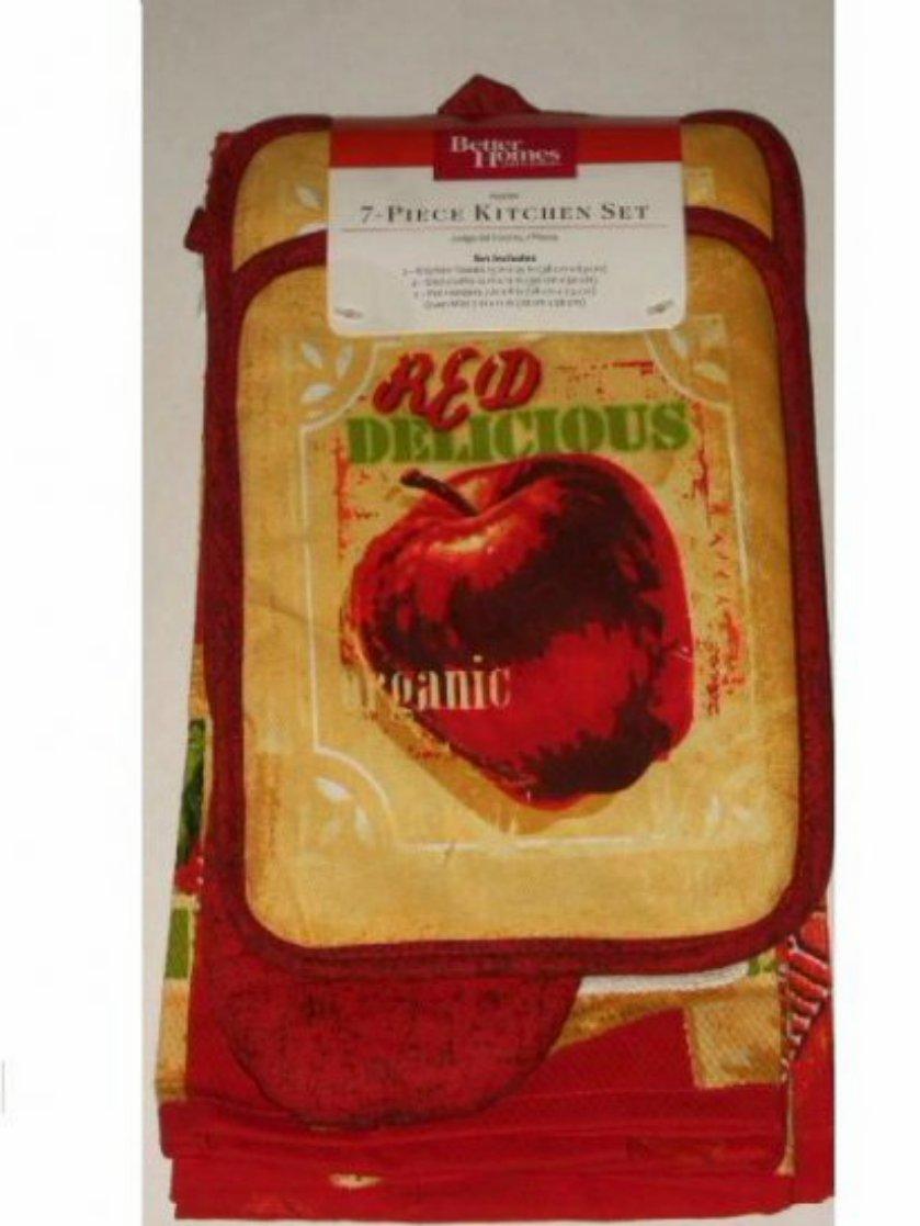 Apple Kitchen Linens Set Towels Dish Cloths Pot Holders Mitt