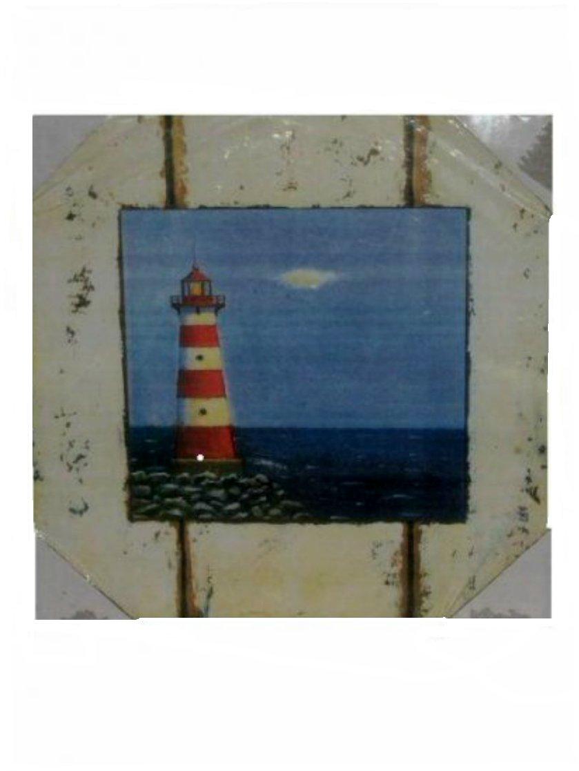 Nautical Lighthouse Wall Plaque Rustic Beach Decor