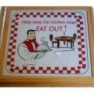 Humorous Wood and Tile Trivet Eat Out