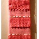 Pink Bath Towels Set Crocheted Lace