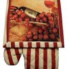 Wine Grapes Oven Mitt Pot Holder Kitchen Linen Set