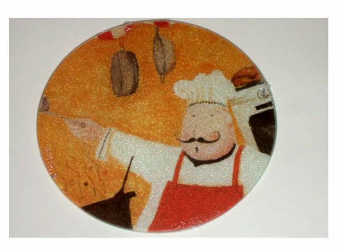 Fat Italian Chef Cutting Board Trivet Round