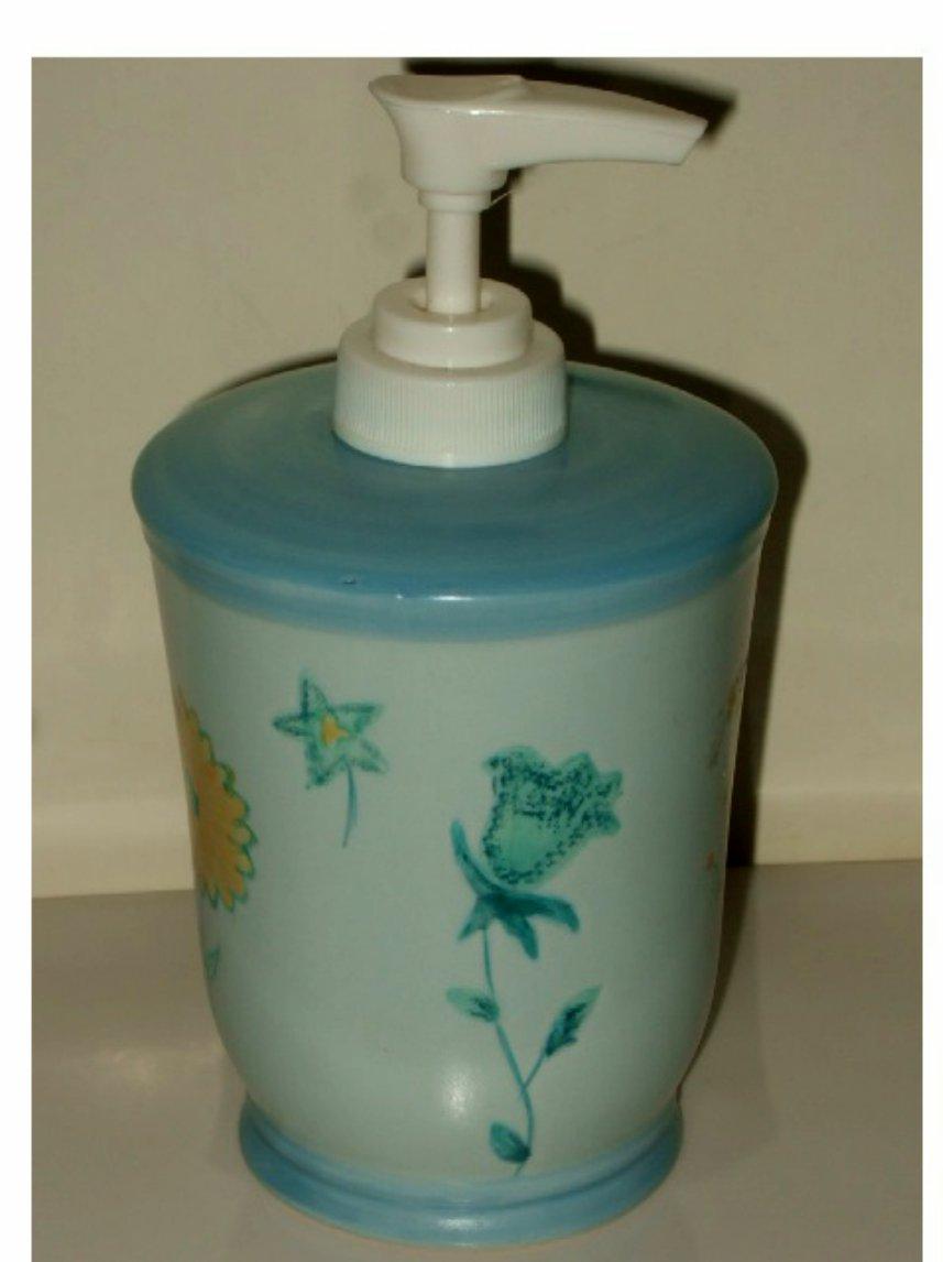 Blue Floral Soap Pump Lotion Dispenser Popular Bath