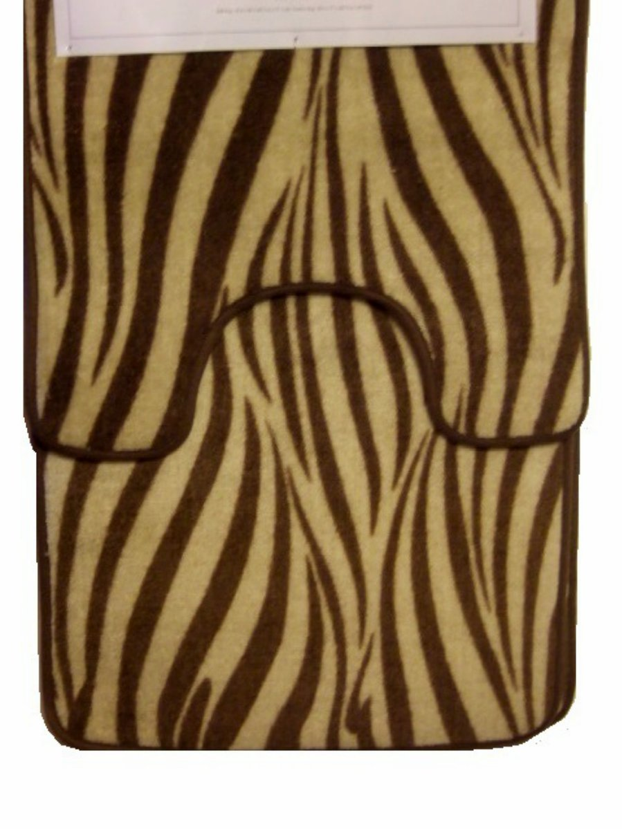 Brown Zebra Stripe Bath Mat Contour Rug