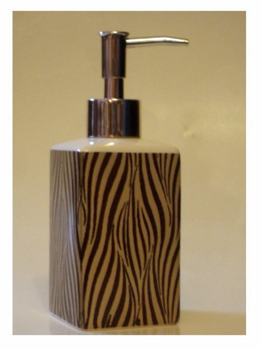 Zebra Stripe Soap Pump Lotion Dispenser Ceramic