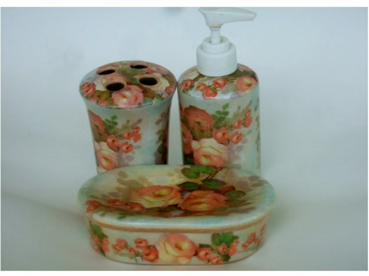 Peach roses bathroom accessories 3 piece set for Peach bathroom accessories