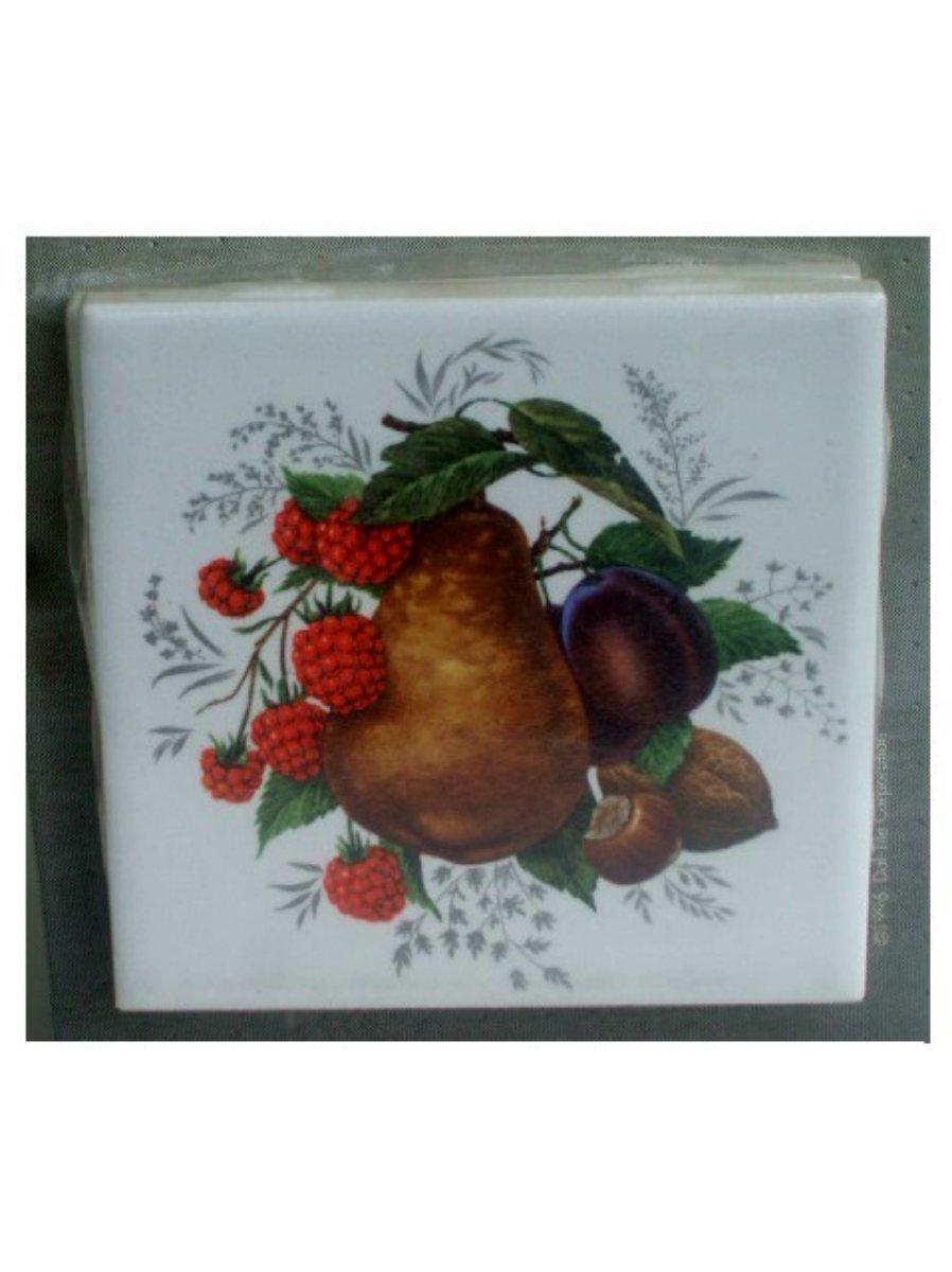 Fruit Tile Coasters Set Raspberries Pear Plum