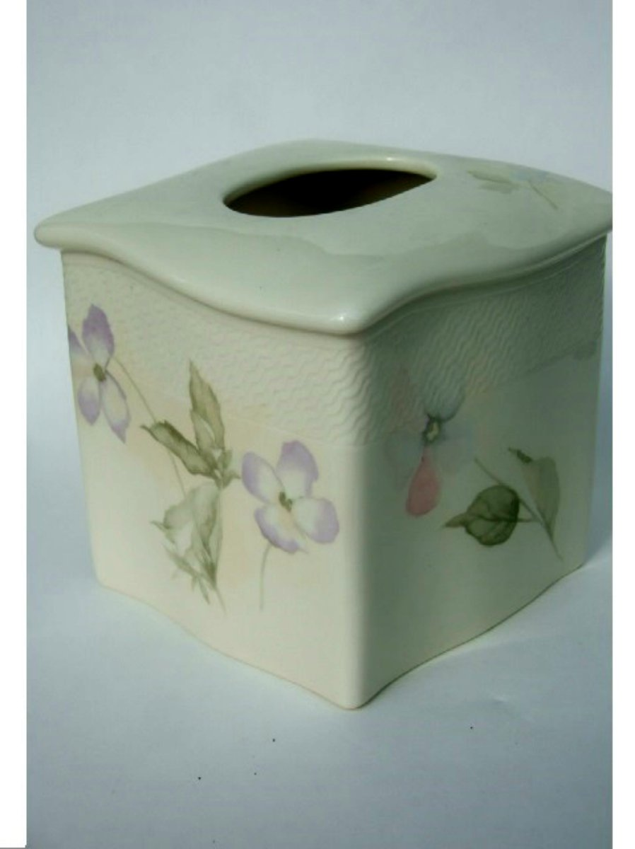 Forget Me Not Floral Ceramic Tissue Box Cover