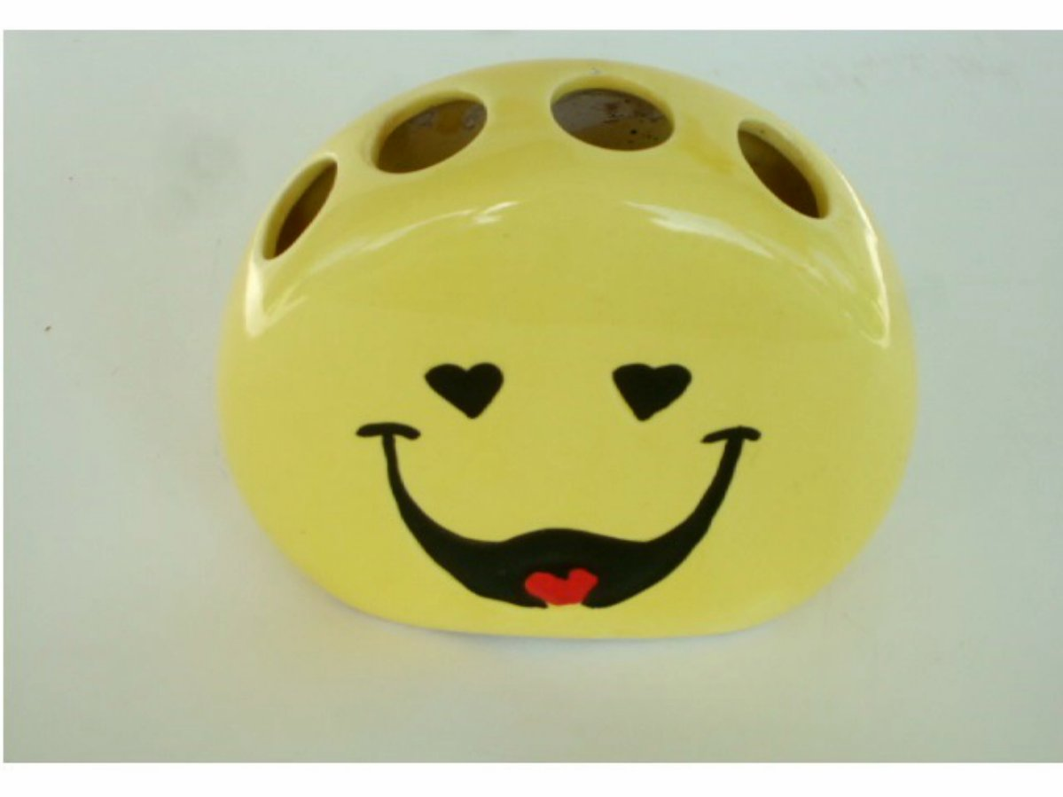 Vintage Yellow Smiley Face Toothbrush Holder Ceramic