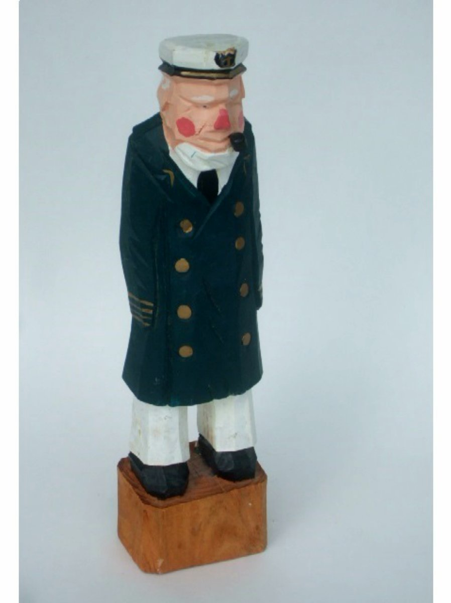 Sea Captain Carved Wood Figurine