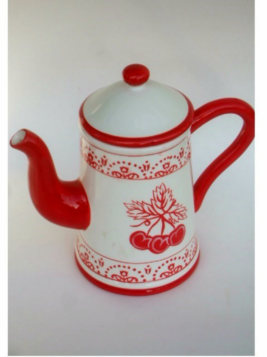 Ceramic White Red Cherries Teapot with Lid