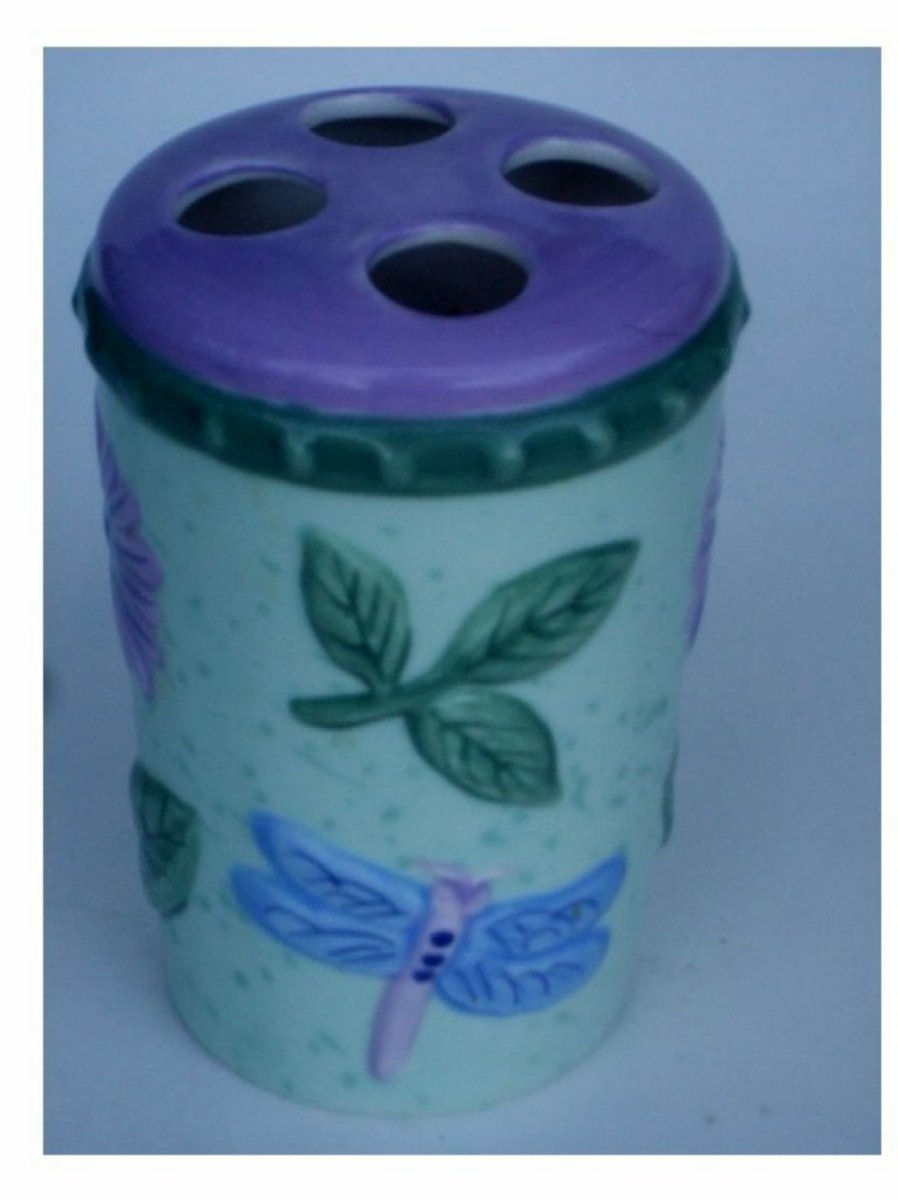 Ceramic Floral Dragonfly Toothbrush Holder