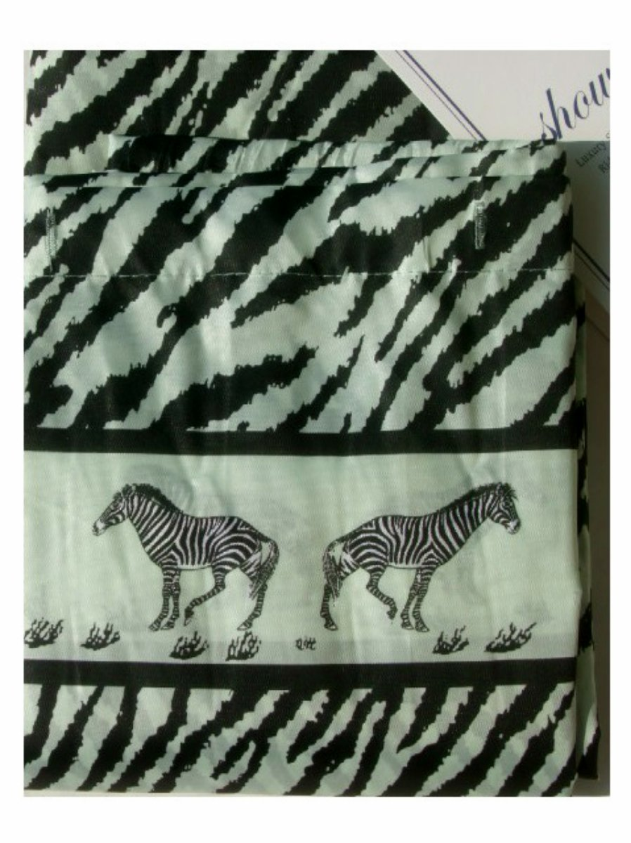 Zebra Stripe Fabric Shower Curtain Zebras