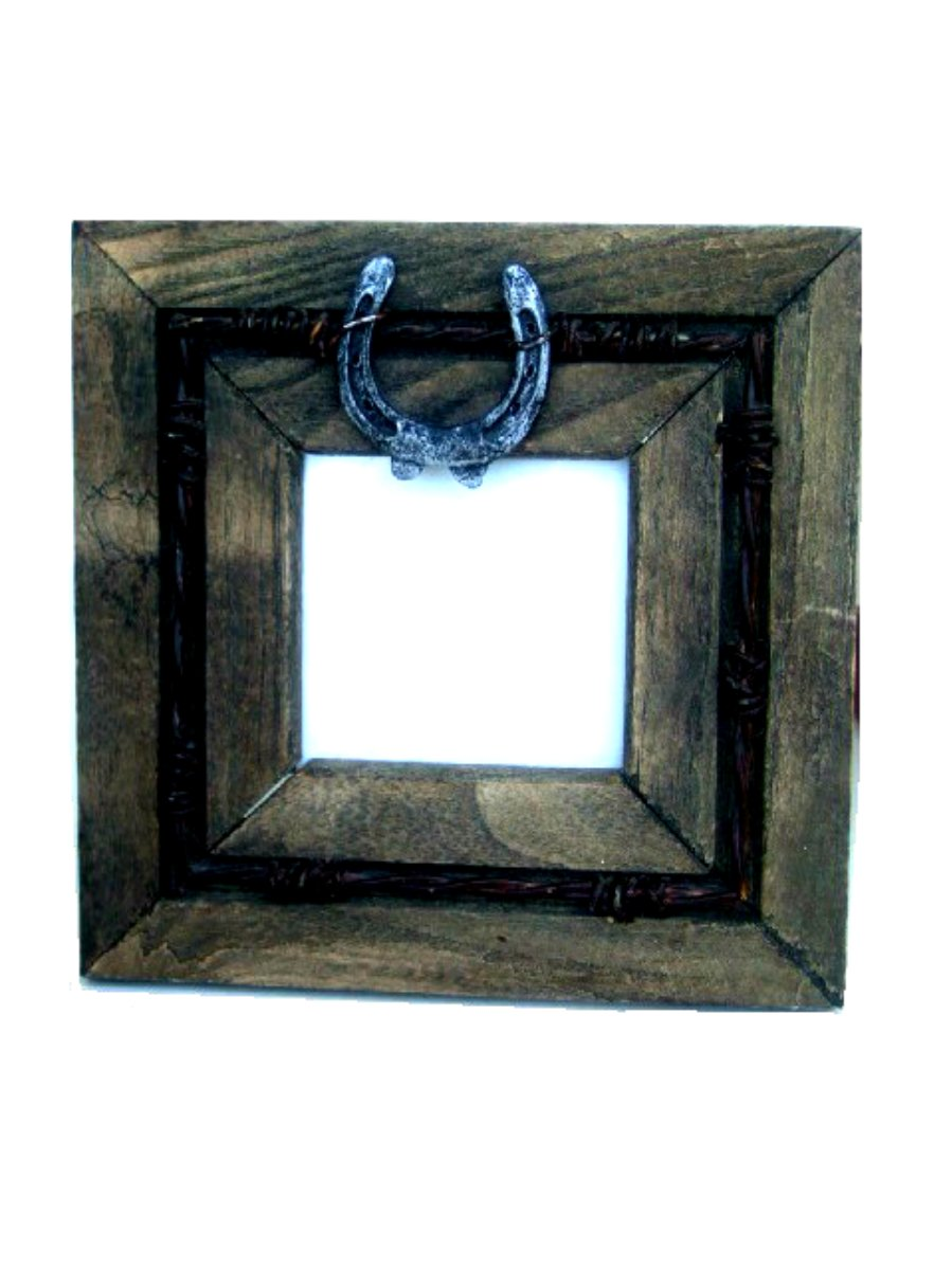 Western Horseshoe Barbed Wire Photo Frame