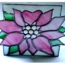 Floral Stained Glass and Metal Napkin Holder