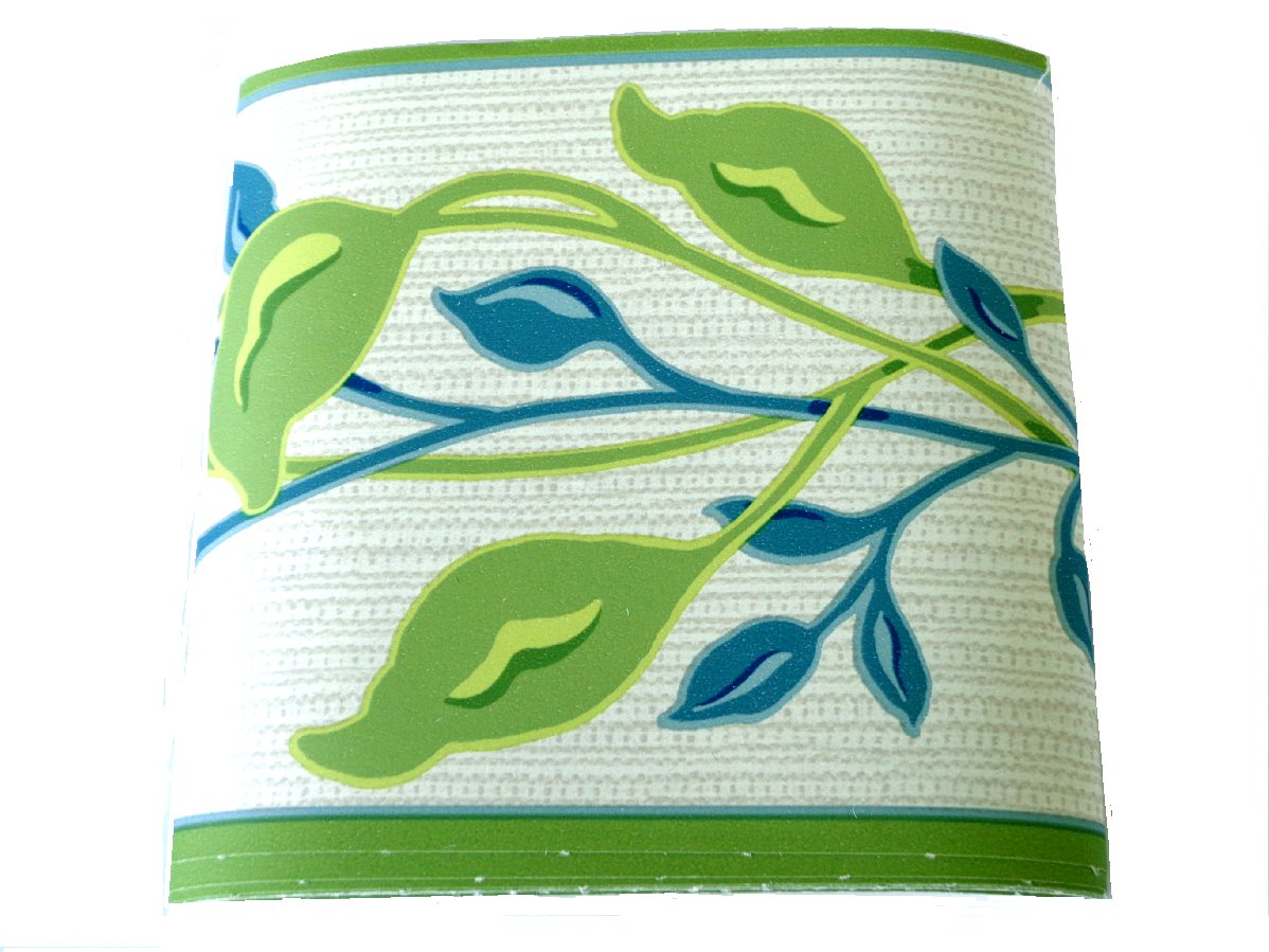 Green Teal Vine Wallpaper Border