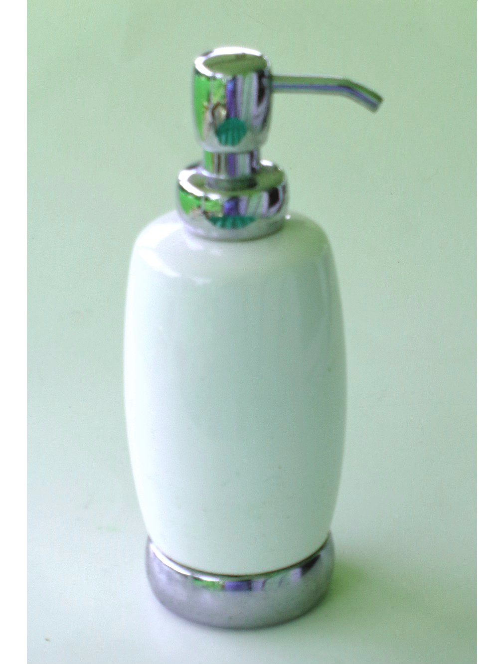 White Ceramic Lotion Pump Soap Dispenser Chrome Base