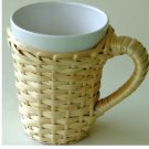 White Coffee Cup Basket Weave Cover