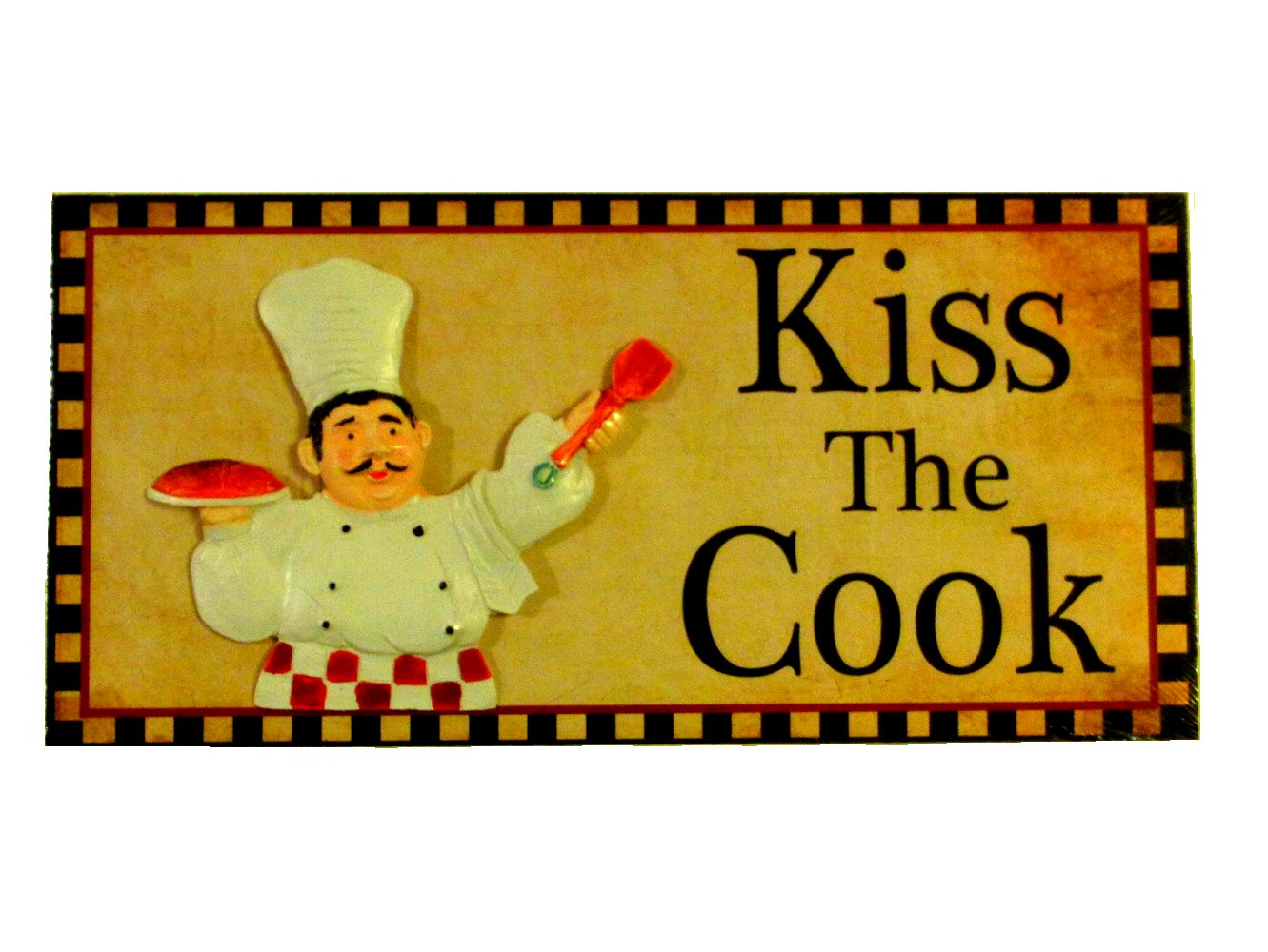 Fat Chef Kitchen Plaque Sign Kiss the Cook