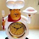 Fat Italian Chef Kitchen Wall Clock Red White