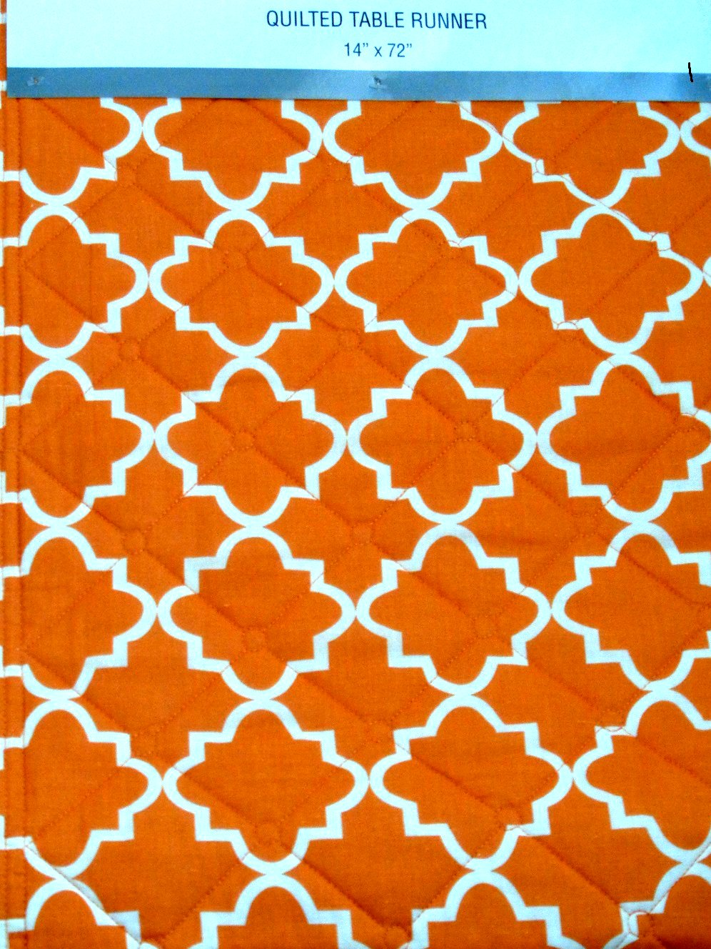 Orange White Geometric Table Runner