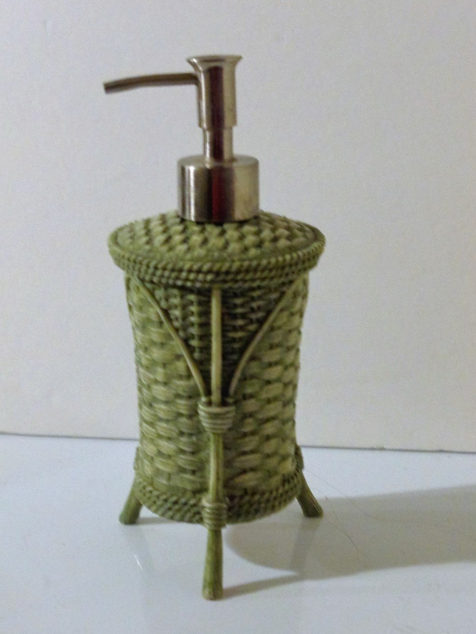 Green Lotion Pump Soap Dispenser Basket Weave Design