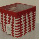 Red White Basket Weave Planter