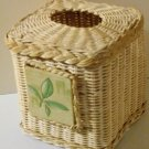Vintage Cream Wicker Tissue Box Cover Leaf Tile