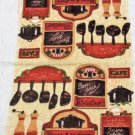 Bon Jour Bistro Cafe Kitchen Towels Oven Mitt Linens Set