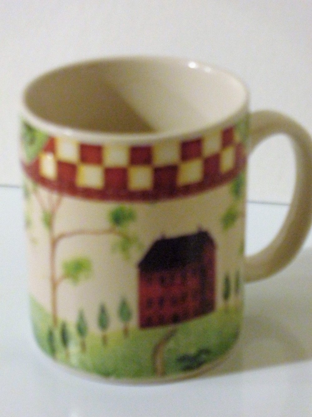 Coffee Cups with Red Houses Thompson Pottery