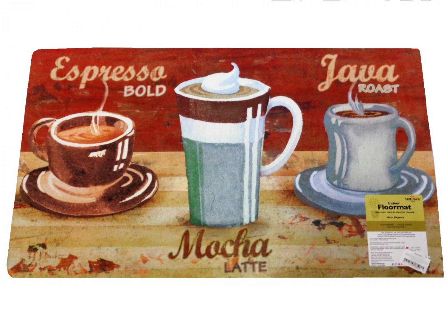Coffee Cups Espresso Java Mocha Kitchen Rug