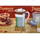 Coffee Cups Espresso Java Mocha Kitchen Rug