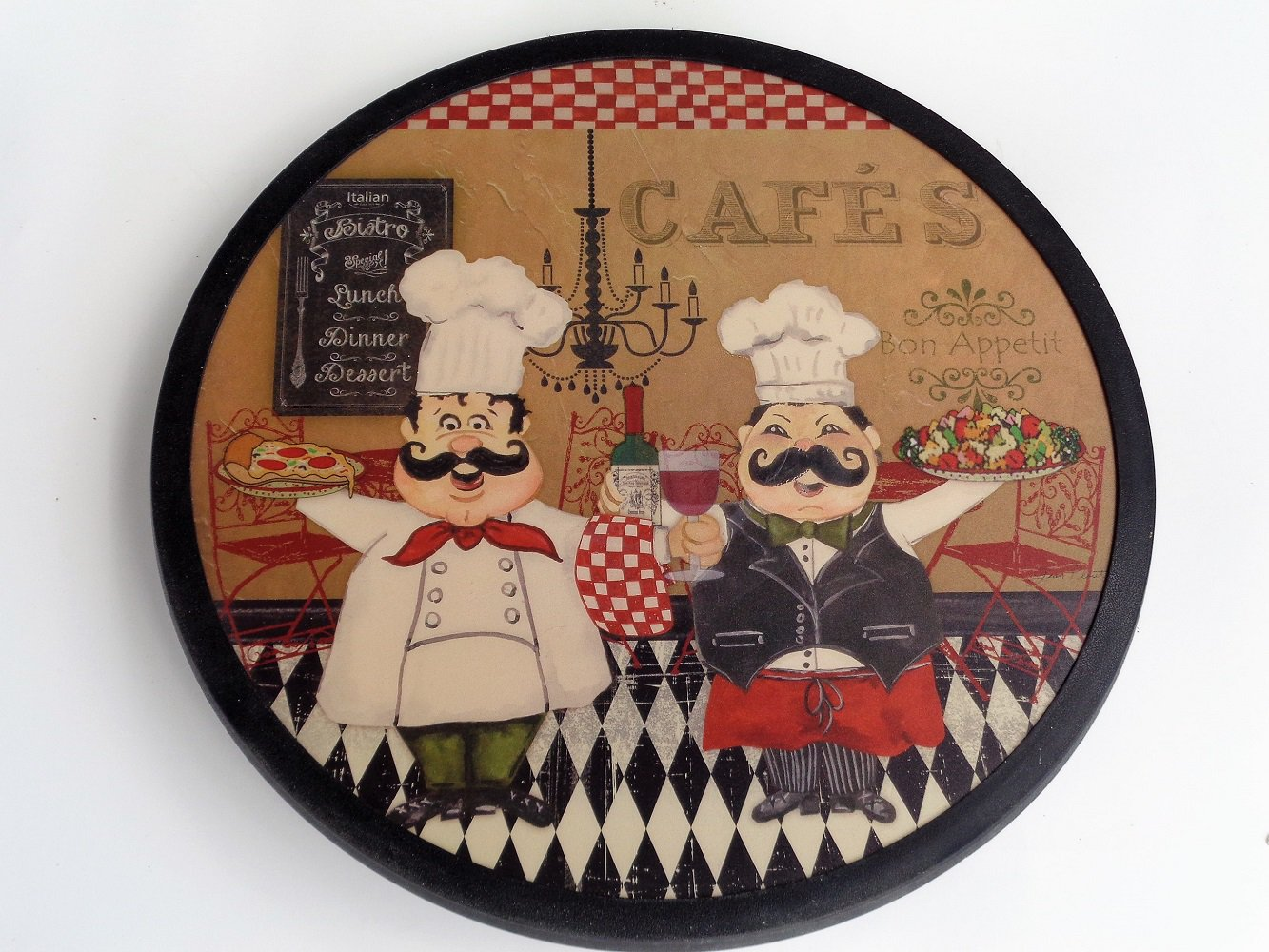 Fat Italian Chefs Lazy Susan Wood