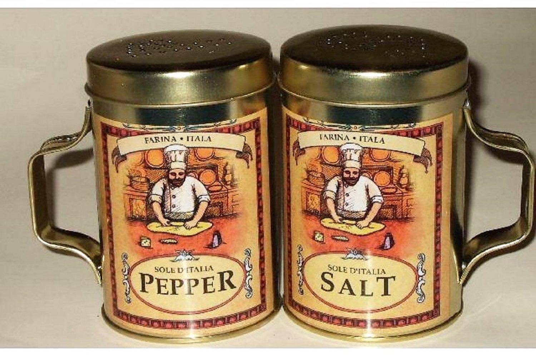 Fat Chef Salt Pepper Shakers Vintage Italian Themed
