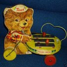 VINTAGE FISHER-PRICE TEDDY ZILO PULL TOY