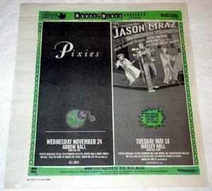 JASON MRAZ / PIXIES Toronto concert advertisements Canada 2004 [SP-250t]