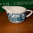 Beautiful Currier and Ives Creamer Blue and White   I26