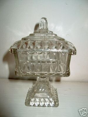 Clear Glass Covered Candy Dish   I08