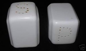 Vintage White Ceramic Salt & Pepper Shakers  As