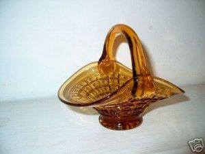 Beautiful Amber Glass Basket  I13