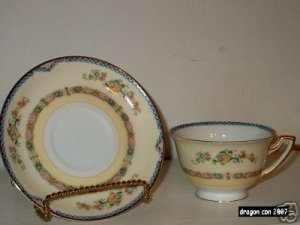 Meito China Hand Painted Flower Pat. cup / saucer   I07