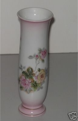 White Trimmed in Pink Vase with Pink & Yellow Roses  MT