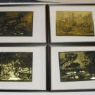Lot of 4 Lionel Barrymore Gold Foil Framed Prints  MT