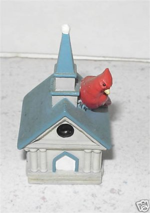 Miniature Lenox Red Bird on Roof of Church or Chapel  M