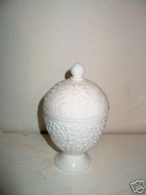 Avon Milk Glass Covered Candy Dish  I23