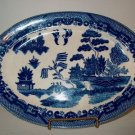 Oriental Scene Blue white Transfer ware Platter  I23