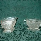 Beautiful Pressed Glass Creamer and Sugar     I02