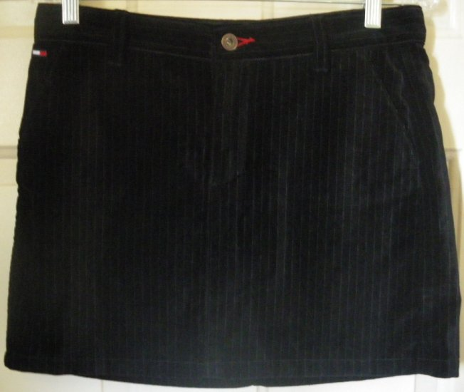TOMMY HILFIGER Black SUEDE PINSTRIPED Mini Skirt size 5