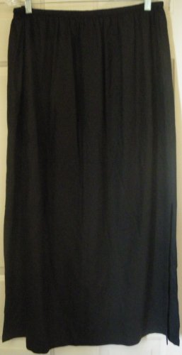 ERIN LONDON Long Black SILK Column Skirt size 1X