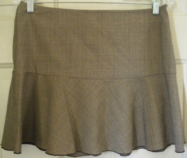 BYLINE BYER CALIFORNIA Brown Mid-Thigh STRETCH PLAID HIPSTER Skirt size 7